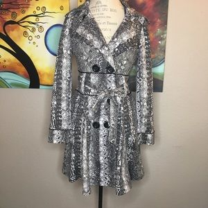 Candie's Large Snake Print Trench Coat NWOT